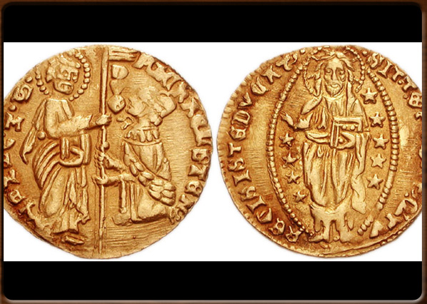 Venetian coins. The golden ducato, the sequin, at the beginning of 15th century.