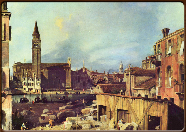 The stone-cutter court at San Vidal. Canaletto, 1725, National Gallery, London.