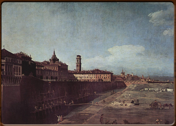 Royal palace from the outside wall in Turin, 1745, Galleria Sabauda, Torino.