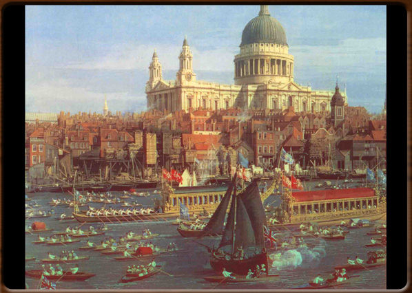 The Thames and the City. Canaletto, 1747, National Gallery, London.
