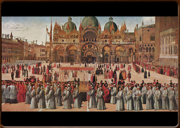 Procession in St. Mark's Square. Gentile Bellini, 1496, Gallerie dell'Accademia,Venice.