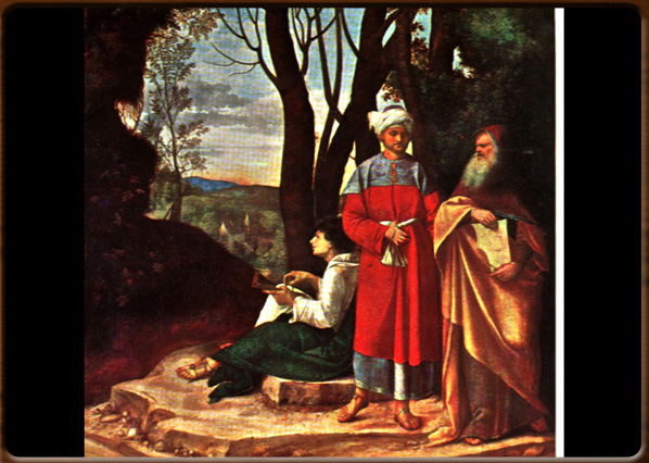 The three philosophers. Giorgione, 1504, Kunst Museum Wien.