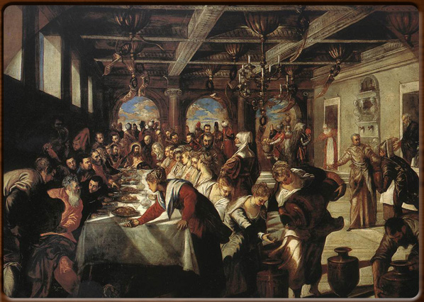 The wedding of Cana. Tintoretto,  1561, S. Maria della Salute, Venice.
