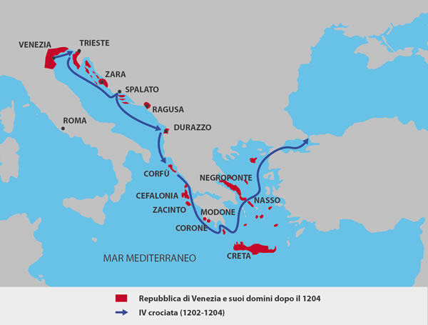 Route of troops during the fourth Crusade