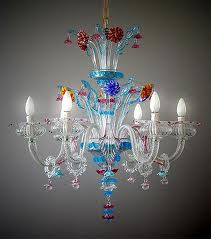 Murano chandelier with six lights.