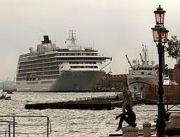 Cruise ship in front of St. Marks square.