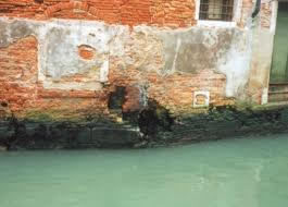 Venice degradation. Chasm in the foundations.
