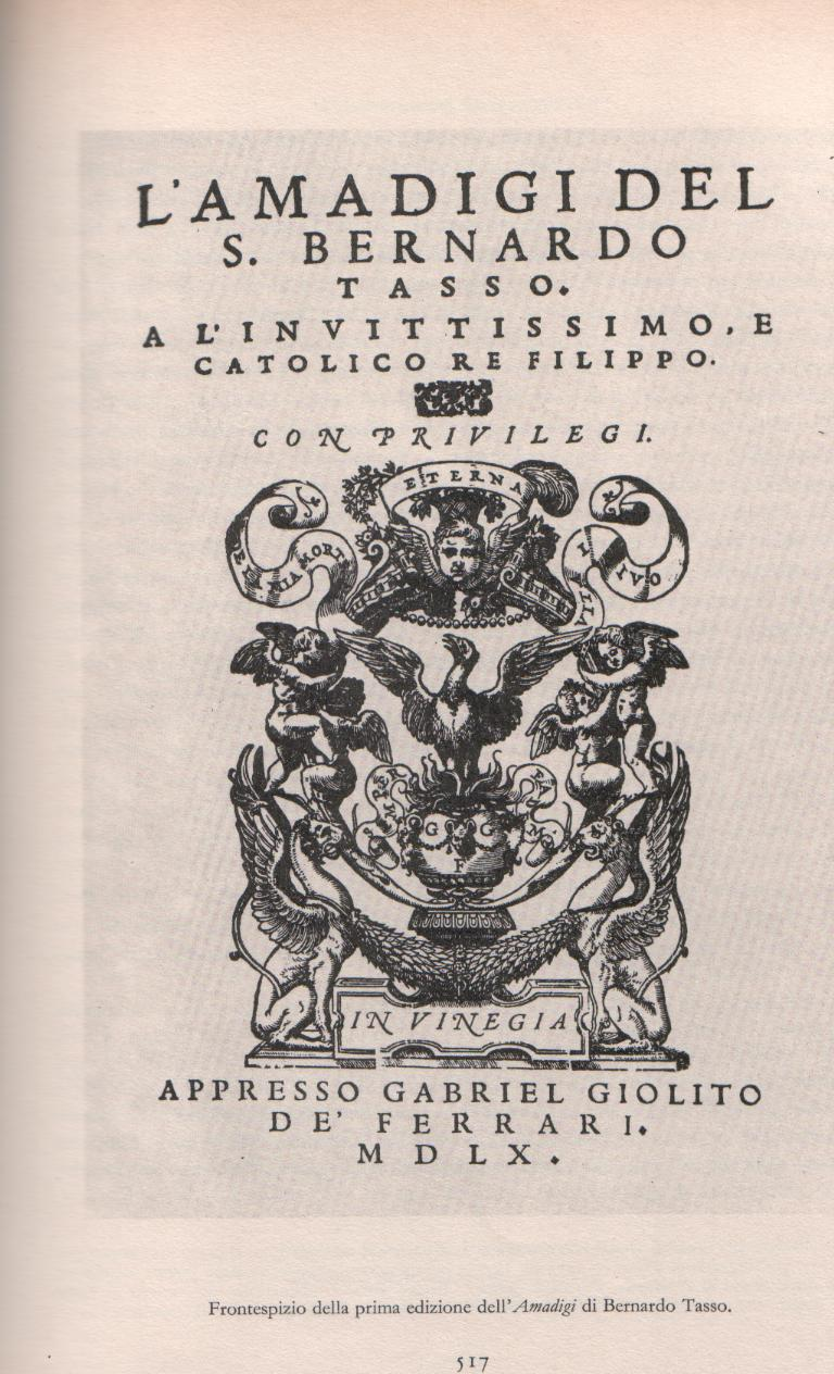 Frontispiece of the first edition of the Amadis of Bernardo Tasso, 1560, Venice.