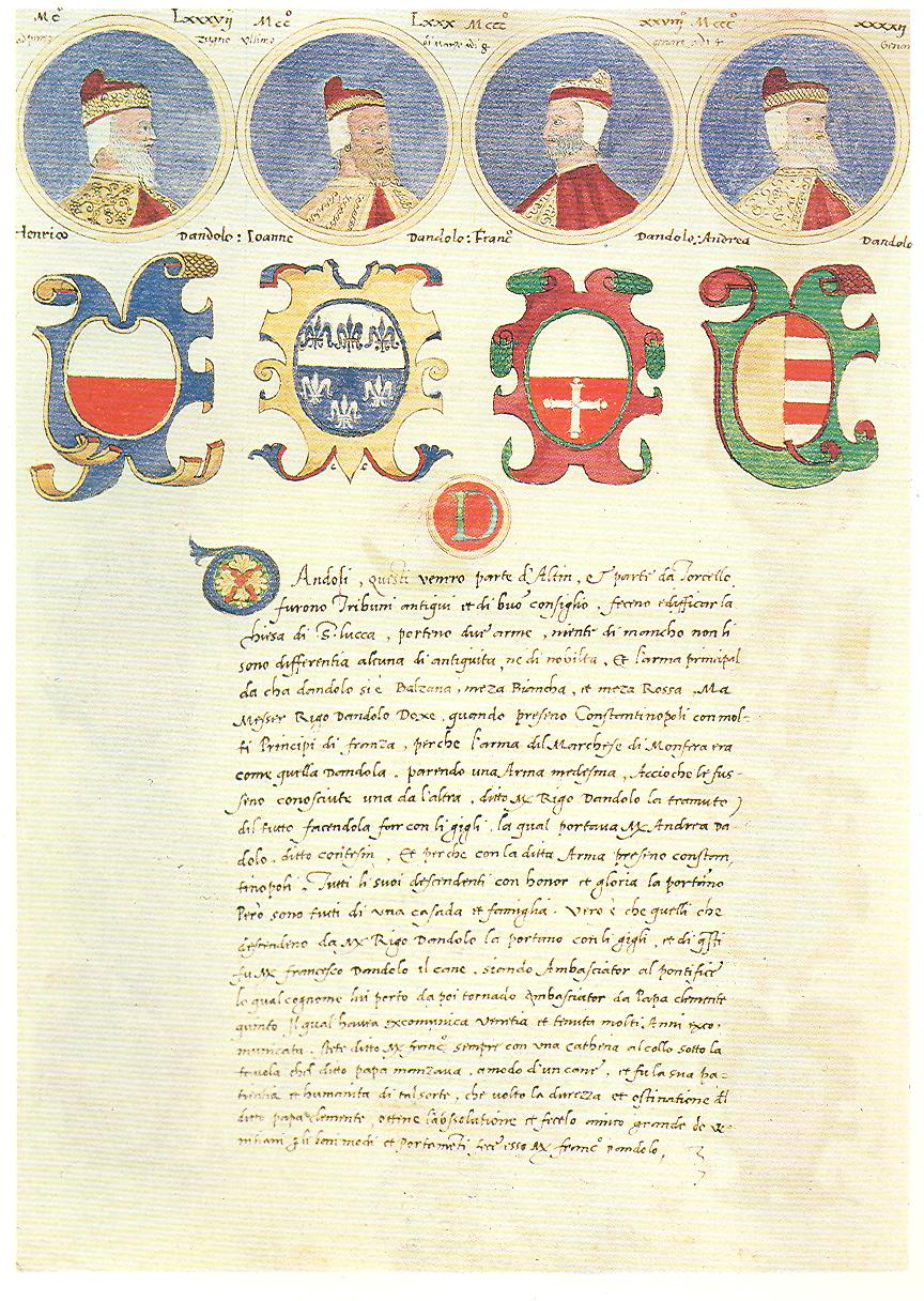 Origins of Venetian noble families. The the Doges Dandolo's family. Manuscript of fourteenth century, Venice, Marciana Library.