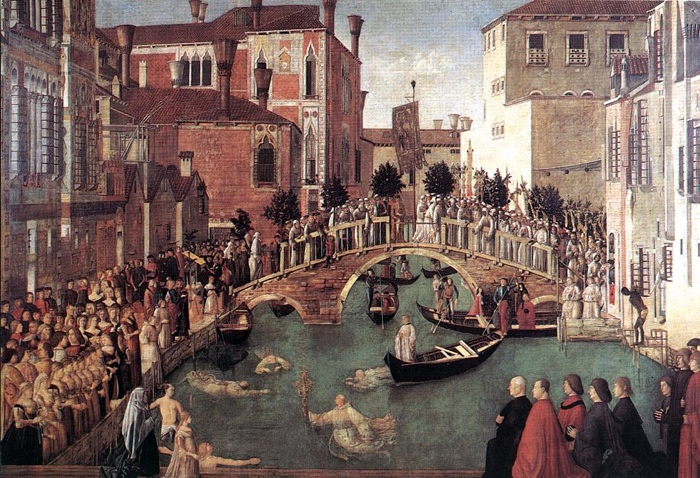 The miracle of the Cross at San Lorenzo Bridge. Gentile Bellini, 1500, , Venice, Gallerie dell'Accademia.