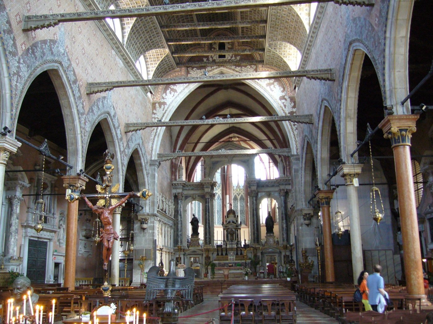 Santo Stefano. The Gothic interior with a ceiling like a ship's hull