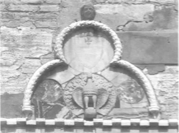 'Patera' with peacock extending its tail fully. Family Gritti coat-of-arms.
