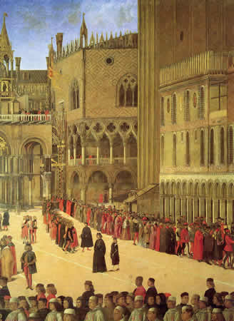 The 'Piffari' in  St. Mark's square procession. Gentile Bellini, Venice, 1496, Gallerie dell'Accademia.