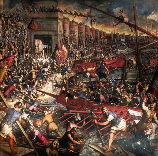 The Conquest of Constantinople. Domenico Tintoretto, detail, Venice, Ducal Palace.