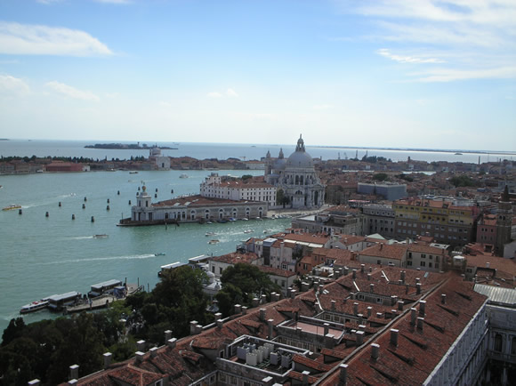 The stately Basilica of Santa Maria della Salute from St. Mark's bell-tower.